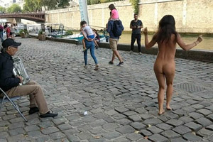 Dancing naked in the street